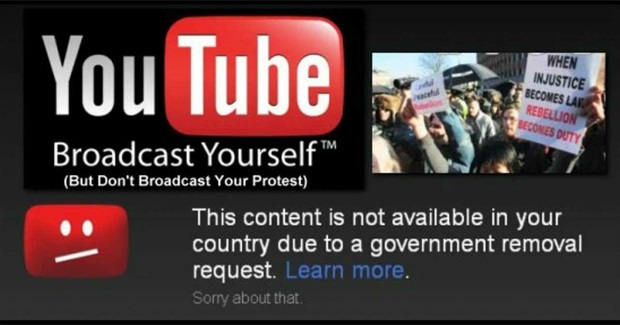 Governments are ordering Youtube to Censor Protest videos