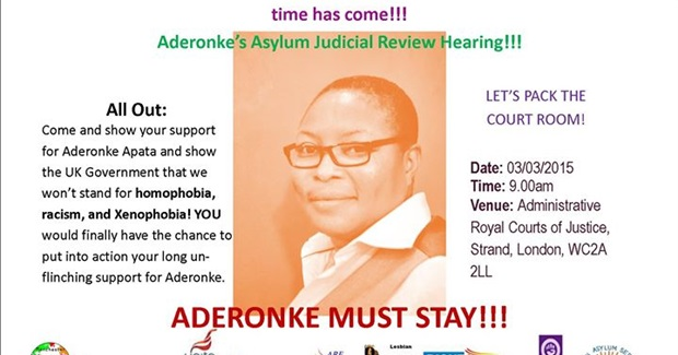 #AsylumForAderonke: Pack The Court! Judicial review for Nigerian lesbian